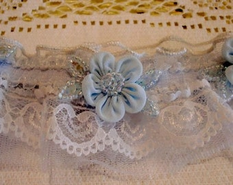 Lace Bridal Garter Made to Order Wedding Accessory Blue SAMPLE SALE