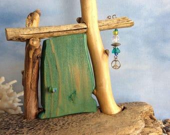 Aqua Beachcomber Fairy Door with Fairy Peace Wish Catcher