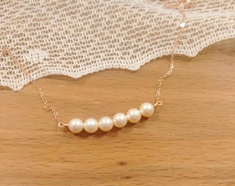 Petite Pearl Necklace, Dainty Row of Pearls, Sterling Silver, Gold Pearl Necklace, Rose Gold Necklace, Bridesmaid Necklace, Bridal Necklace
