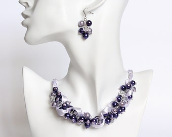 Dark Purple and Lavender Necklace and Earrings Set