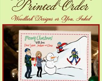 "FOLDED Cards 4.25""x5.50""  - PRINTING  - 2 cardstock choices - Christmas Card - Holiday - Hanukkah - Print Option"