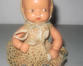Vintage hard plastic Baby Doll with crochet dress by Irwin