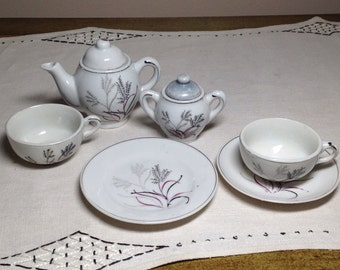 Vintage Childs Tea Set Made in Japan Gray Red Childrens