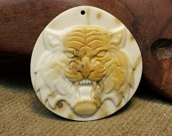 NEW ~ Fierce Snarling Tiger Face carved in Natural Brown Ribbon Jasper