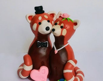 Red panda cake topper wedding figurine, animal clay cake topper, cute pandas woodland rustic cake topper,  custom bride and groom, mr & mrs