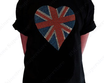 """Girl's Rhinestud T-Shirt """" British Flag Heart """" Size 3 to 14 Available"""