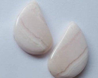 Pink lace agate natural plain fancy shape cabochon one matching-pair - 14mm x 24mm x 4mm -STK-86-PLAL-07