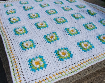 Crochet Flowers Baby Blanket. Granny Square Afghan. White Yellow Turquoise Blue Green Blanket. Custom Colors Stroller Throw. by dodofit