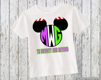 Buzz Lightyear Mickey Ears Custom Monogram Kid Shirt