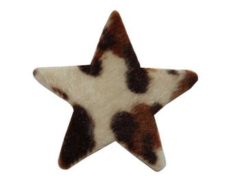 ID 7291 Fuzzy Leopard Print Star Patch Fluffy Craft Embroidered Iron On Applique
