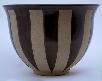 Brown, striped, stoneware bowl