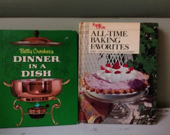 Vintage Cookbook Bundle Betty Crocker's Dinner in a Dish Cookbook and Family Circle All Time Baking Favorites