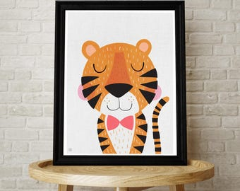 Baby Tiger, Tiger Art, Tiger Illustration, Cute, Kids Wall Art, Baby Nursery, Kids Room, Illustration, Wild Animal, Scandinavian Style