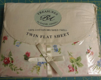 Chelsea Sheet  Twill Cotton Treasures by Rachel Ashwell 1980's New Old Stock Fabulous  Roses Rosebuds