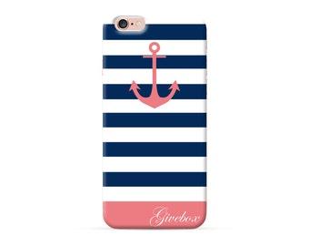Personalized phone case, iPhone 8 case, iPhone 7 Plus case, iPhone 7 case, Clear iPhone X case, iPhone 6s case, blue nautical chevron case