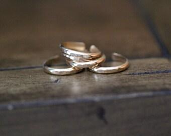 MIDI-Stapeln Ringe, Gold gefüllt, Rose Gold, Sterling Silber, einstellbare Dicke stapelbar Knöchelring, modernen böhmischen Mode