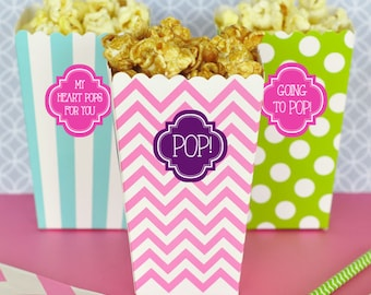 Personalized DIY Popcorn Boxes with Labels (Set of 12) - Treat Bag, DYI Favor, Baby Shower Treat Bag, Baby Shower Favor, Movie Favor Bag