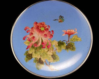 Vintage Japanese Cloisonne Butterfly Flowers Plate