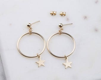 14K Gold Filled Star Circle Hoop Earrings, Celestial Earrings, Gold Hoop Earrings, Gold Star Hoops,Everyday Gold Earrings, Star Dangle Hoops