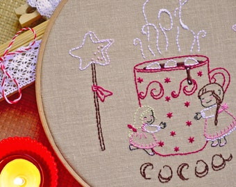 Hygge, DIY Christmas gifts, Hand embroidery patterns, Christmas crafts, Girl gift idea, hot cocoa mug
