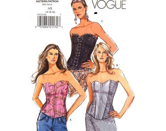 Corset Top Pattern Vogue 8325 Strapless Bustier Top Close Fitting Top Boning Eyelet Laced Top Womens Sewing Pattern Size 4 6 8 UNCUT