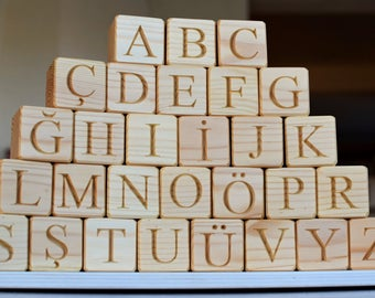 29 Wood Turkish Alphabet Blocks ABC Wood Turkish Letter Blocks Learning Wood Toy Personalized Blocks Baby Shower or Birthday Gift