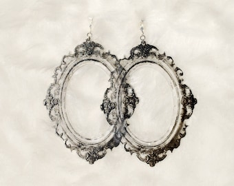 Acrylic Frame Earrings // Laser Cut // Silver & Clear