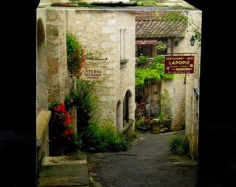French Home Décor Tissue Box Cover - Quiet Lane St Cirq Village in France