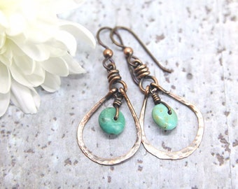 Turquoise and Copper Earrings, Turquoise Earrings, Blue Earrings, Hammered Copper Earrings, Boho Earrings, Hippy Earrings, Niobium Earrings,