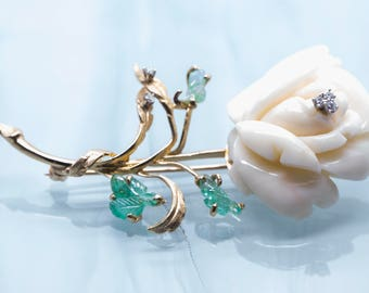 Vintage 14K Angel Skin Coral, Emerald, and Diamond Rose Brooch Pin; Coral, Emerald and Diamond Rose Brooch Pin; Carved Coral Rose Pin; Rose