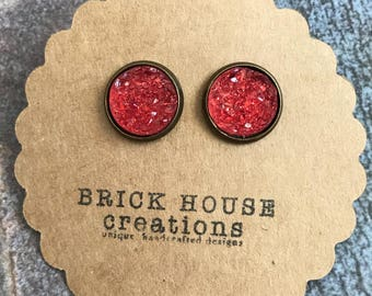 Watermelon Druzy earrings