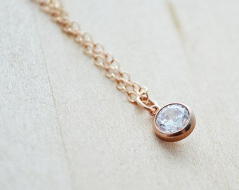 Satellite Crystal Necklace - Rose Gold Jewelry - Satellite Necklace - Moon Shadow, Moonshadow - Layering Jewelry, Layered Necklace