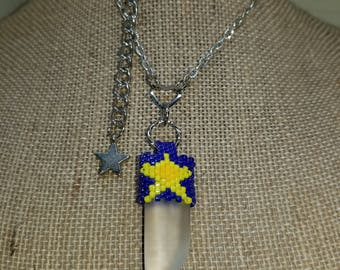 Crystal Quartz Pendant Necklace with Hand Beaded Bail