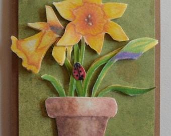 Daffodils Card Watercolor Daffodil Card Daffodil Prints Dimensional Card Watercolors Ladybug Floral Watercolor Greeting Card