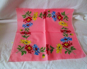 Bright Pink Floral Unused Mid Century Cotton Printed Hankie Handkerchief 12x12