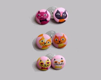 Covered buttons fabric, 26 mm x 6 fabric coated buttons buttons pattern cats