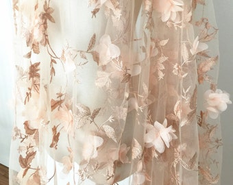 3D Bridal Lace Fabric, French Embroidered Lace Fabric, Chiffon Blossom Applique Fabric by Yard