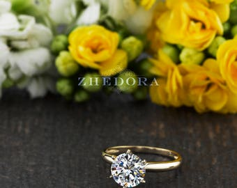 2.0 CT Round Solitaire Engagement Ring in Solid 14k /18k Yellow Gold, Solitaire Moissanite Ring, White Sapphire Solitaire , Zhedora
