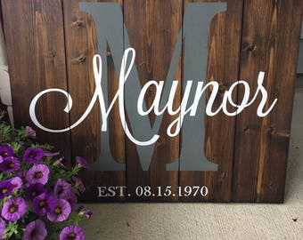 Personalized Monogram Family Name Sign, Custom Rustic Wood Sign, Anniversary Gift, Wedding Gift, Bridal Shower Gift, Last Name Sign