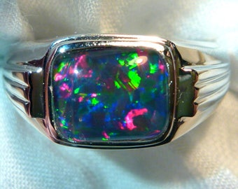 Mens Opal Ring Sterling Silver, Natural Opal Triplet. 10x8mm Rectangle. item 060641