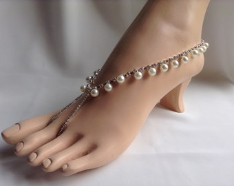 Pearls and Rhinestones Barefoot Sandals, Bridal Barefoot Sandles Beach Wedding Sandals, Pearl Sandals