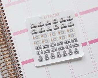Vintage Camera Hand Drawn Planner stickers, Perfect for Erin Condren, Happy Planner, Kikki K, Plum Paper, Filofax, inkwell press