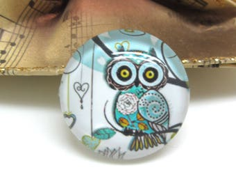 2 cabochons 14 mm glass OWL blue and white - 14 mm