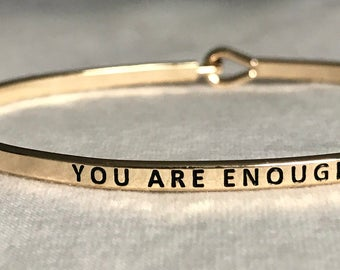 Gold You Are Enough Bracelet/Bangle - Inspiration - Christian - Faith -  Dainty/simple Jewelry