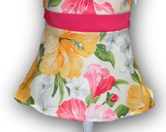 "One Shoulder Watermelon Yellow Floral 18"" Doll Clothes Above Knee Dress w/ Invisible side zipper"