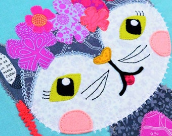 Sew Quirky, Furlicity, Quilting Pattern, Raw Edge Applique, Cat Quilting Pattern, Mini Quilt, Pillow Cushion, Tote Bag, Decorative Stitch