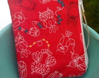Owl zipper pouch small zipper bag red zipper pouch cotton and steel owls cute zipper bag sewing gift teacher gift coin purse