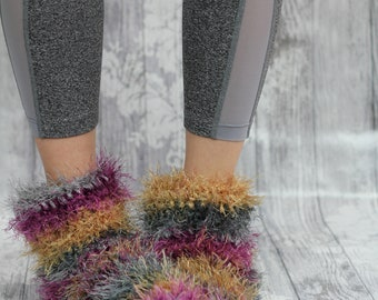 Purple and Gold FUZZY SLIPPERS Furry 80s Slipper Boots hand crocheted RETRO House Shoes Cosy Pink Furry Socks, Fun Adult booties,house shoes