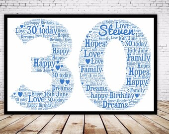 Personalised Word Art Gift Framed 30th  Birthday Wedding Anniversary Mum Daughter Son Auntie Sister Friend Brother Uncle