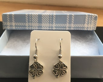 Four Leaf Clover Earrings - Silver Earrings - Dangle Earrings